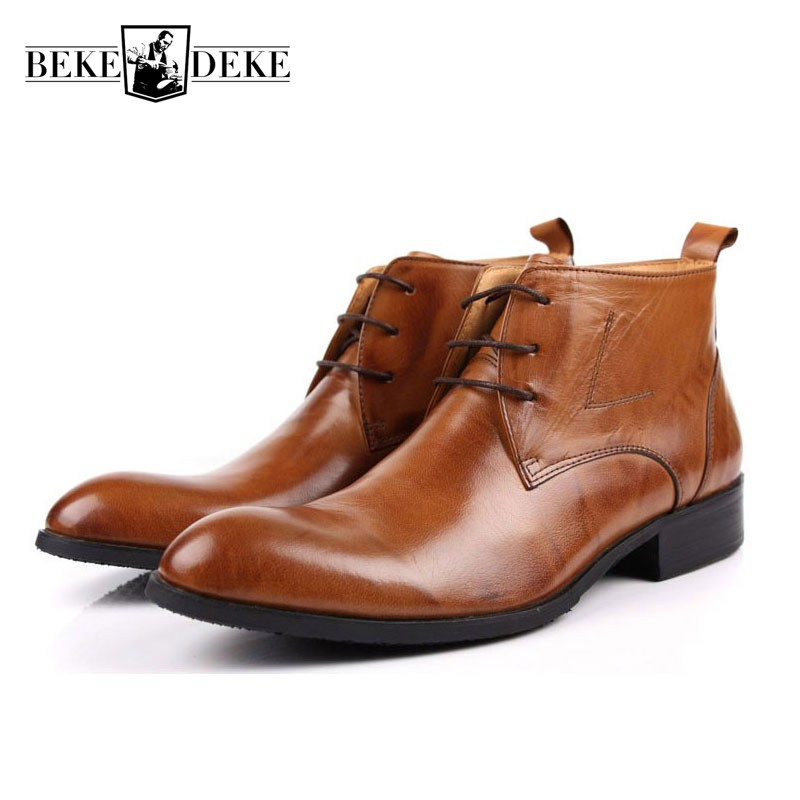 Italian Brand Men Winter Office Work Dress Shoes Lace Up Business Party Formal Ankle Boots Male Genuine Leather Wedding Footwear men shoes wedding dress italian style men oxford genuine leather lace up black flats shoes luxury brand shoes sapatos homens