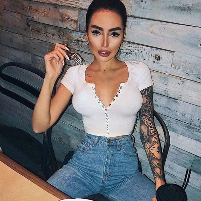 2019 패션 섹시한 여성 짧은 소매 자르기 탑 버튼 조끼 홀터 캐주얼 화이트 탱크 탑스 블라우스 짧은 셔츠