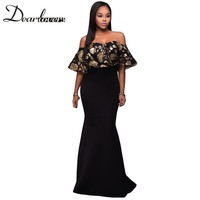 Dear Lover Women Formal Party Dresses 2017 Elegant Off Shoulder Black Gold Sequins Ruffle Strapless Long