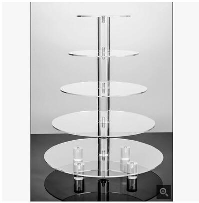 Velký 5-vrstvový akrylový kulatý stojan na svatební dort / stojan na košíčky, stojan na dezert / pečivo, talíř / stojan na potraviny