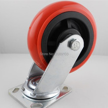 1 pcs PVC /PU red Korean 6 inch material 202 bearing heavy duty 230 kg industrial caster