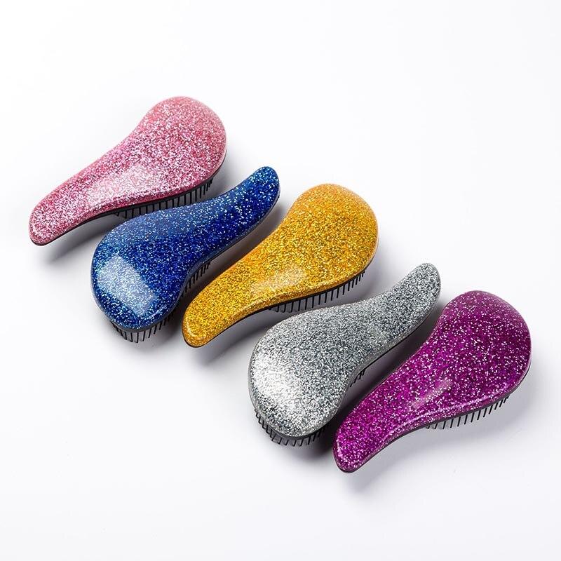 Glitter Handle Tangle Comb Shower Hair Brush Salon Styling Tamer Tool Hairbrush