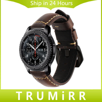 Italy Genuine Oil Leather Watchband 22mm Tool For Samsung Gear S3 Classic Frontier Watch Band Steel