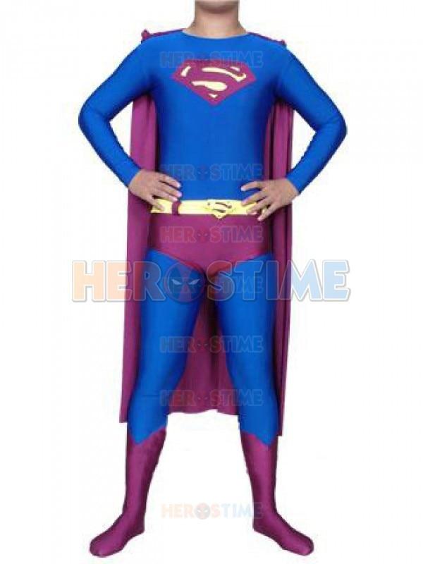 Blue & Purple superman costume spandex/lycra superhero cosplay halloween zentai suit the classic superman superhero costume