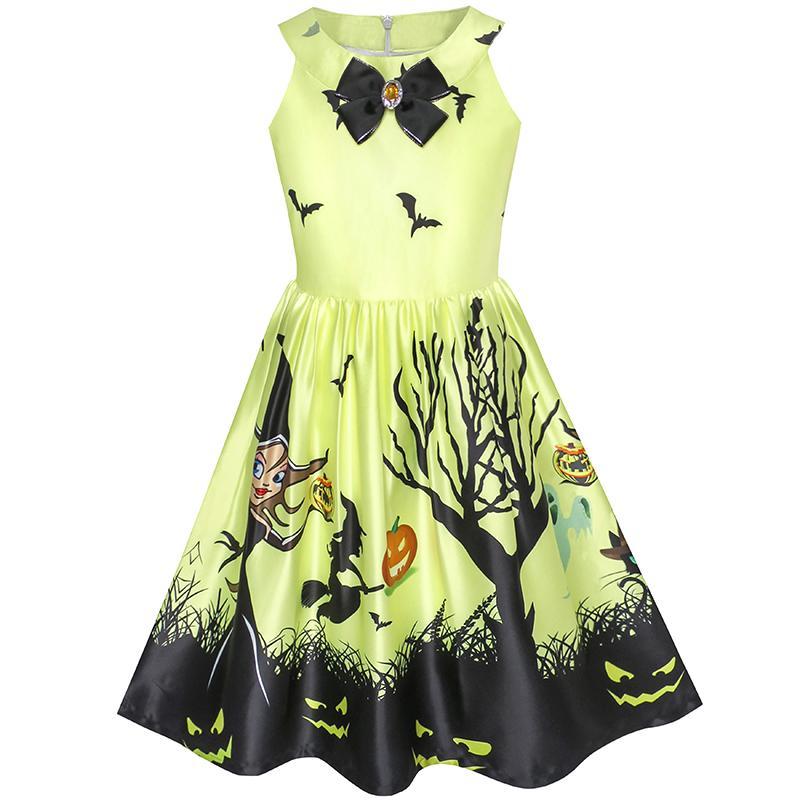 Sunny Fashion Girls Dress Halloween Witch Bat Pumpkin Costume Halter Dress 2017 Summer Princess Wedding Party Dresses Size 7-14 baby girls halloween pumpkin dress girls halloween stripe ruffle dress halloween party dress long sleeve with accessories