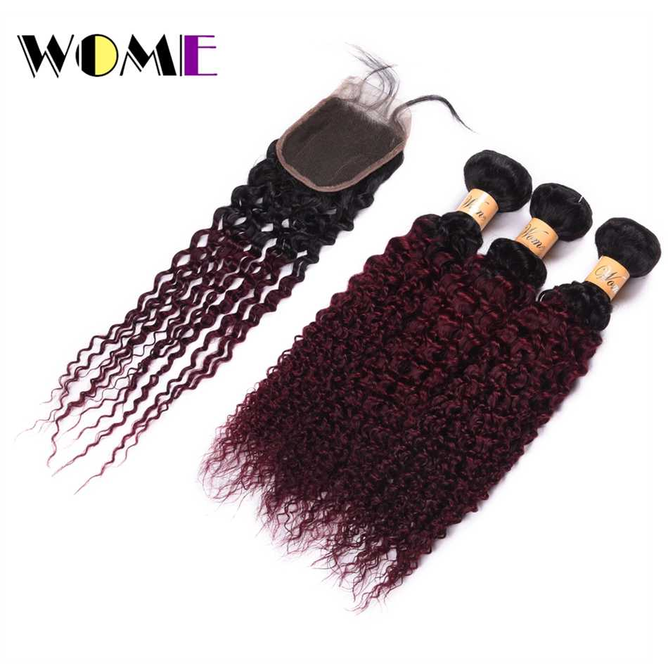 Wome Ombre Hair Two Tone Color Burmese Kinky Curly Hair Bundles With Closure T1B/99J Human Hair Weaving Curl Hair Extensions