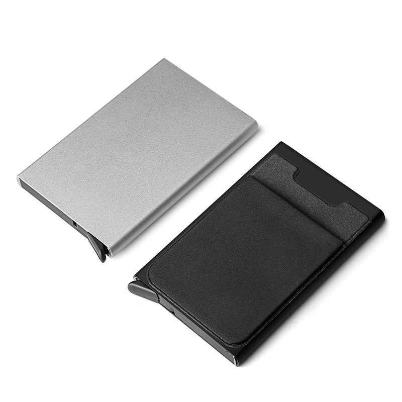 Противоугонный id кредитный держатель для карт для мужчин Блокировка Rfid кошелек безопасность Алюминиевый металлический Банк бизнес визитница пропуск минималистичный кошелек
