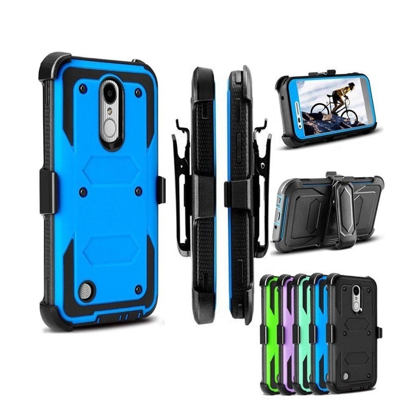 YUMQUA Cover Case For LG K20 Plus Hybrid Protection Case Cover for lg k10 2017 G lv5 Heavy Duty Shockproof Rugged with Belt Clip