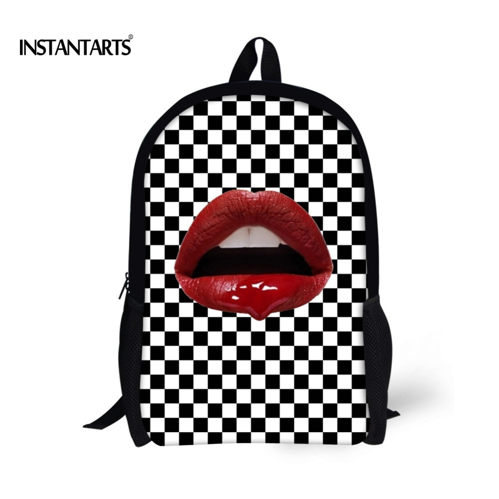 INSTANTARTS Sexy 3D Red Lips Print Children School Bags Fashion Bookbags for Student Girls Satchel Primaty School Shoulder Bags