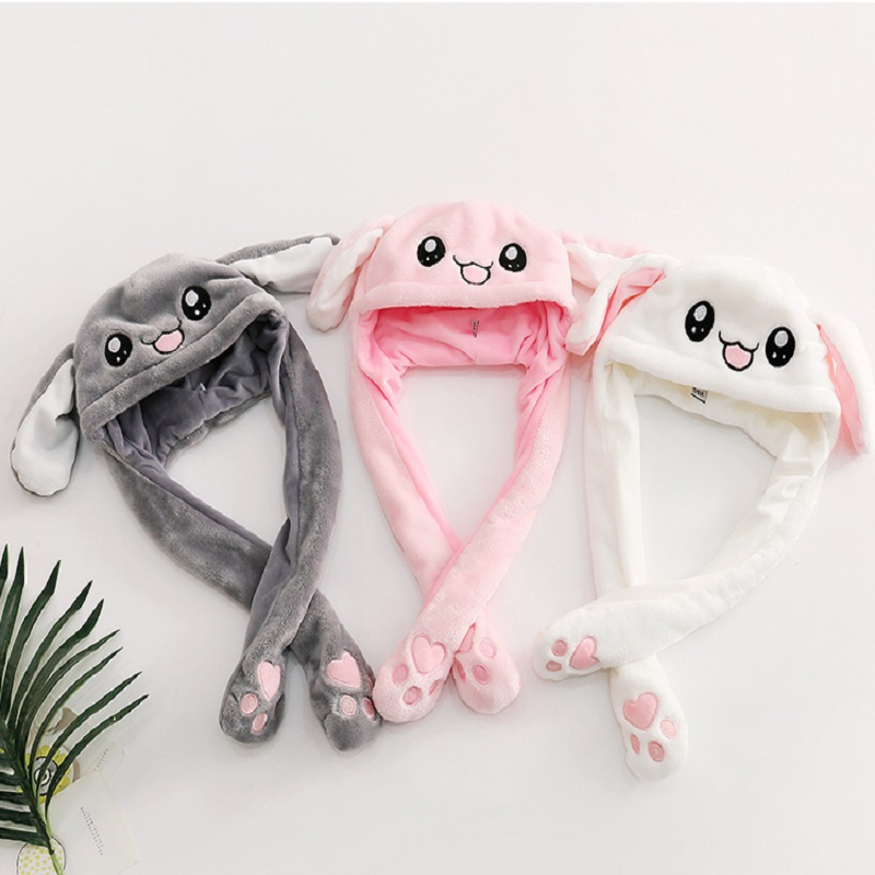 Cute Dress Up Rabbit Ears Hat Airbag One Pinch Will Pulse Move Up And DownToy Doll Head Wear Birthday Christmas Gift For Kids