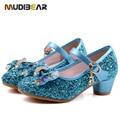 2016 Primavera Niños Niñas zapatos de Tacón Alto Para El Partido Paño Sequined azul Rosa Zapatos de Correa de Tobillo Snow Queen Niños Niñas Bombas zapatos