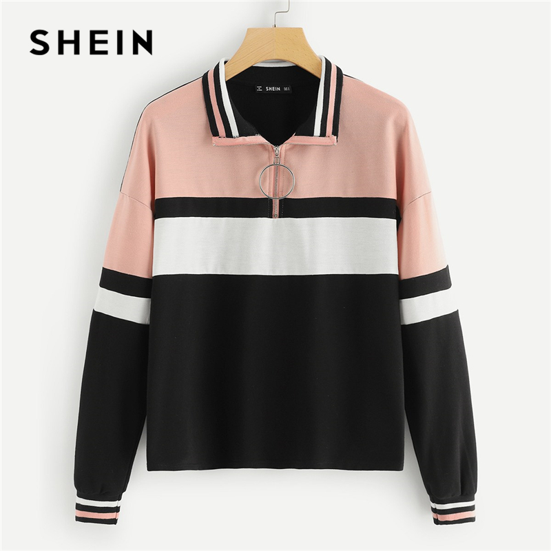 SHEIN Multicolor Elegant Preppy O-Ring Zip Half Placket Cut And Sew Colorblock Sweatshirt 2018 Autumn Casual Women Sweatshirts