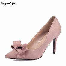 купить Sexy 7CM High Heel Pumps Kid Suede Genuine Leather Ladies Fashion Shoes Thin Heels Pointed Toe Women Sweet Bow Shoes XZL-B0003 дешево