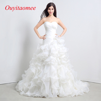Fashion Ruffles Organza Wedding Dress 2018 Sweetheart Neckline White Ball Gown Bridals Party Dresses Real Sample