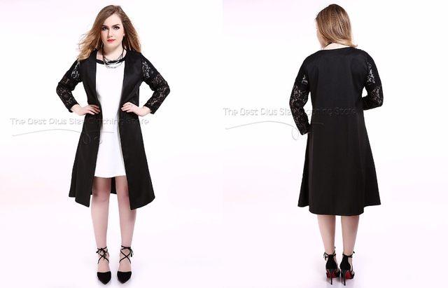 5e8002da2bf Online Shop Cute Ann Women s Black Plus Size Lace Trencth Coat Long ...