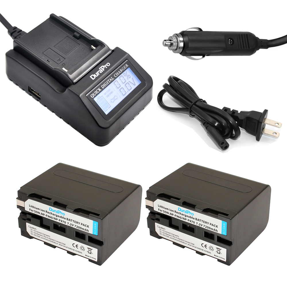 2pc 7200mAh NP-F960 NP-F970 NP F960 NP F970 Rechargeable Li-ion Battery+LCD Fast Charger for SONY HVR-HD1000 HVR-HD1000E HVR-V1J 3pcs battery charger 7 4v rechargeable li ion battery for olympus e300 e500 e3 e5 e520 e510