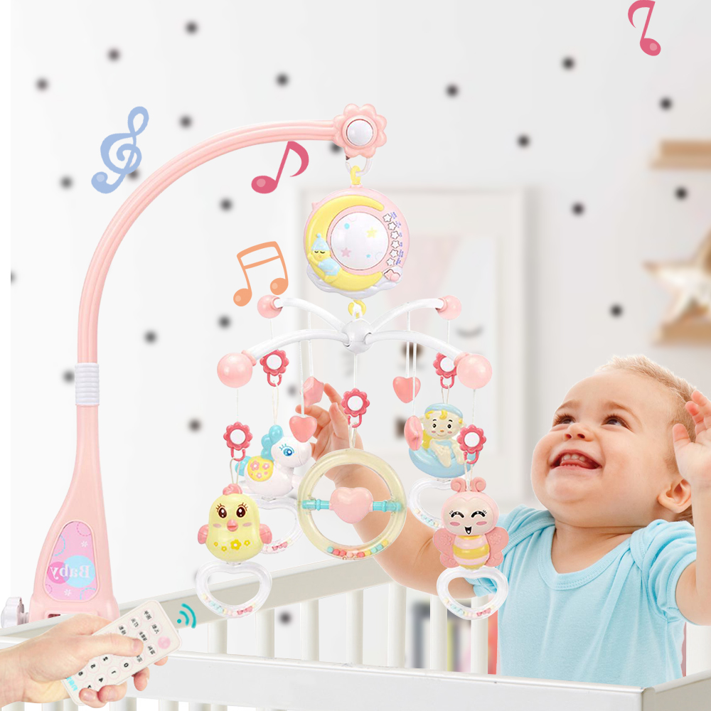 Kawaii Animal Rattles Musical Crib Mobile Bed Bell With Music Box Projector 0-12 Months Baby Educational Toys