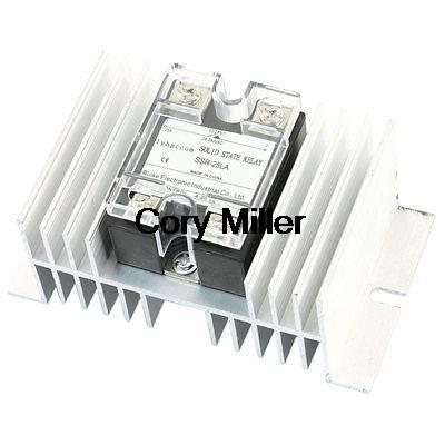 SSR-25LA 4-20mA to AC28-280V 25A Aluminum Heat Sink 1 Phase Solid State Relay 4 20ma to ac 28 280v 25a one phase 35mm din rail socket solid state relay