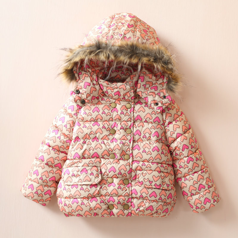 Children girls Love printed cotton-padded jacket Hooded thickening warm clothes 2016
