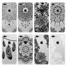 Vintage de encaje Floral Mandala de La Flor suave cubierta TPU para iPhone 8 7 6 6S Plus X 5S SE Xs Max Xr de fundas de teléfono negro Capa
