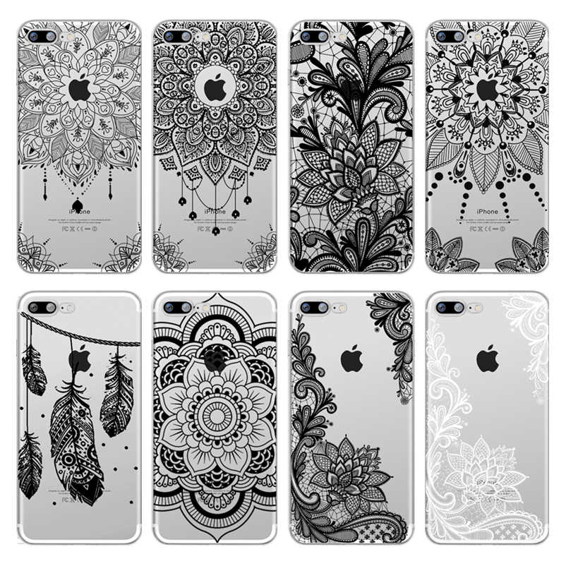 a8be591ffaa Vintage Floral Lace Mandala Flower Soft TPU Case Cover For iPhone 8 7 6 6S  Plus