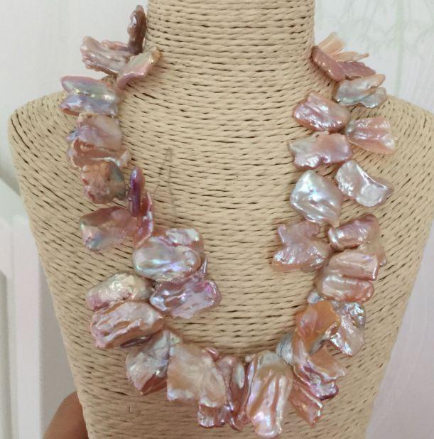Enorme 14-15mm south sea barocco oro rosa collana di perle 18 polliciEnorme 14-15mm south sea barocco oro rosa collana di perle 18 pollici