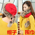 2016 Highly elastic Winter women knitted hat wool Beanies girls Fur knitting hats Mongolian princess cap can as Scarf