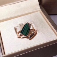 Cute 925 Sterling Silver Shell Ice Cream Collar Cuff Finger Ring Malachite Summer Popsicle Childhood Women Crystal Jewelry