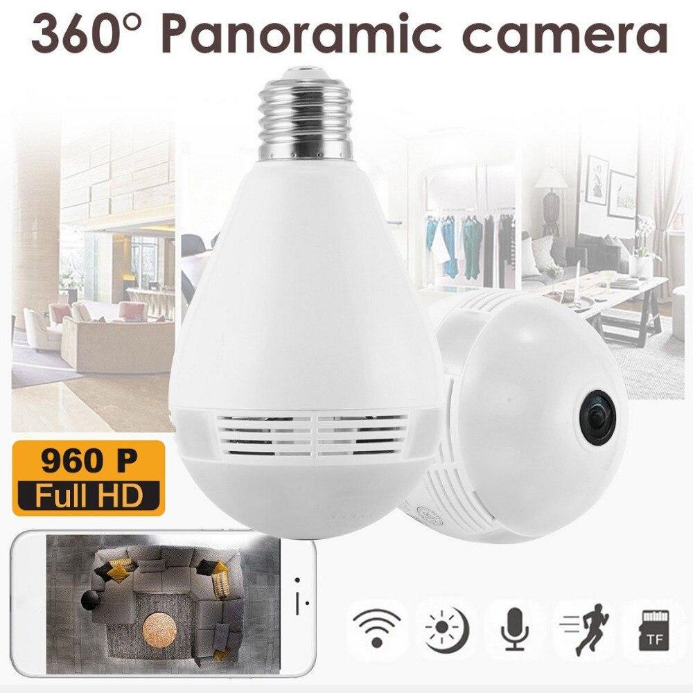 360 degrés E27 RGB Smart WiFi lumière LED ampoule de caméra avec capteur de mouvement V380 960 P enregistreur IP sans fil pour la sécurité à la maison - 5