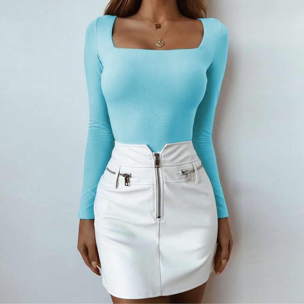 2019 Весенняя модная женская рубашка, одноцветная блуза с длинным рукавом и квадратным вырезом, топы, осенние женские длинные облегающие рубашки, пуловер