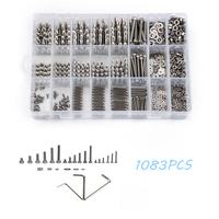 1080PCS M2/M3/M4 Stainless Steel Fastener Hardware Hexagon Socket Head Cap Screws Flat Washer with 3PCS Nuts Wrench Kit