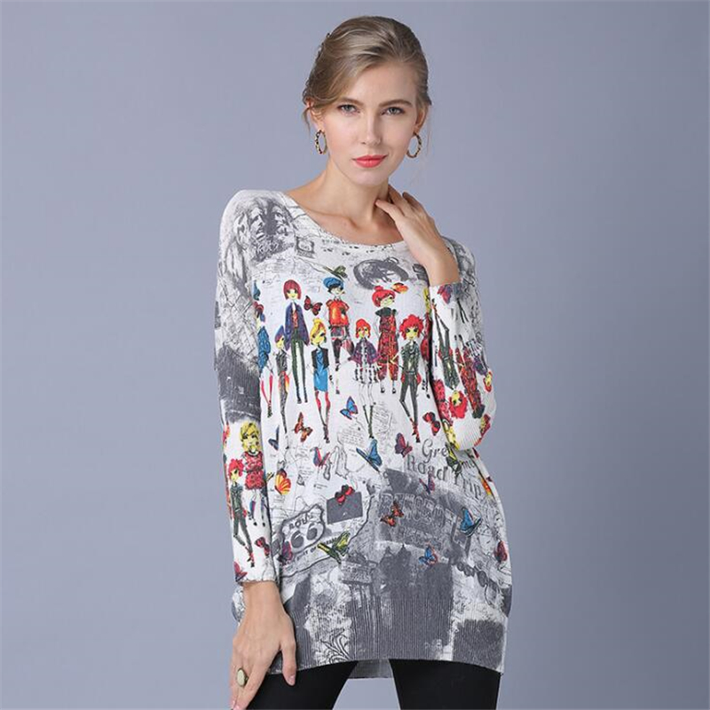 New Spring Autumn Women Casual Large size Loose Bat Sleeve Sweaters Tops Winter Cartoon people Print Design Wool Pullover