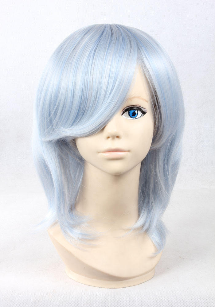 quality thick 38cm short wavy blue