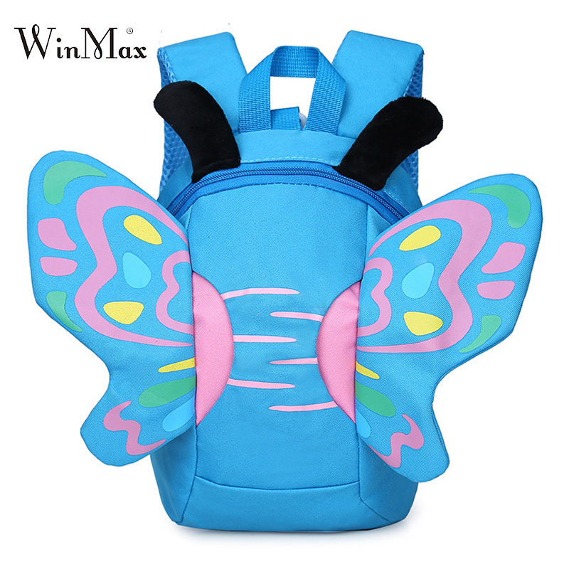 2018 New Butterfly School Bags For Girls Boys Children's Backpacks Cute Kids Small Bag Kindergarten Backpack Anti-lost Mochila forudesigns cute cartoon winx club girls school bags small children book bag for kindergarten women shoulder bag kids mochila