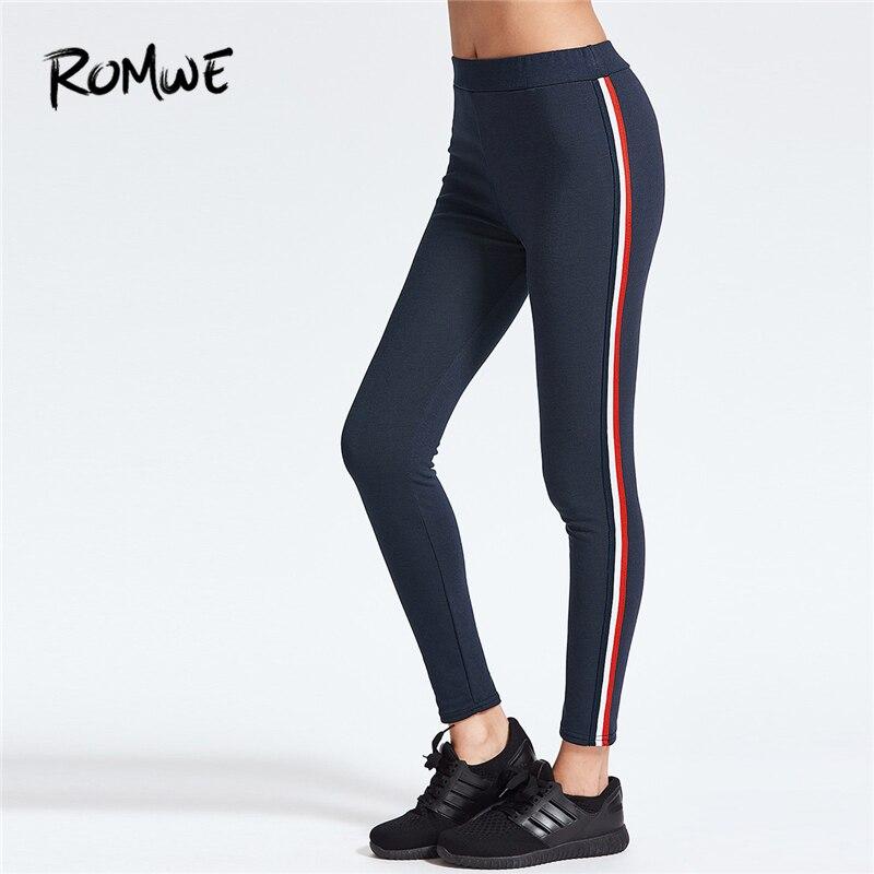 Romwe Sport Striped Side Ankle Leggings 2018 New Women Navy Sporting Pants Ladies Sporty Crop Active Wear Trousers