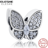 ELESHE Fit Original Pandora Charms Bracelet 925 Sterling Silver Pave CZ Crystal Butterfly Beads Jewelry Making