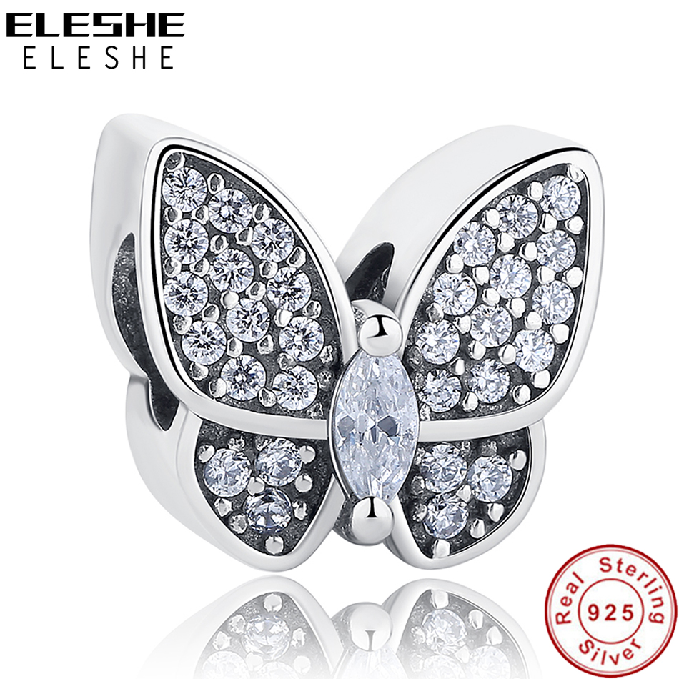 ELESHE Fit Original Pandora Charms Armbånd 925 Sterling Sølv CZ Crystal Butterfly Perler DIY Smykker Making Christmas Gift