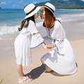 mother and daughter dresses summer white 2017 cotton beach girls dress mom and me