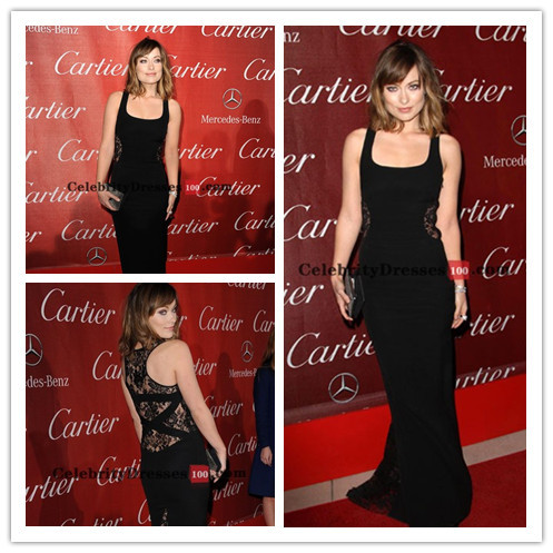 Free Shipping Olivia Wilde Black Lace Formal Evening Gown Celebrity