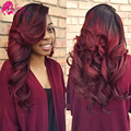 Ombre Brazilian Body Wave Virgin Hair Two Tone Human Hair Weave 3Pcs Black Red Ombre Burgundy Brazilian Hair Body Wave Bundles