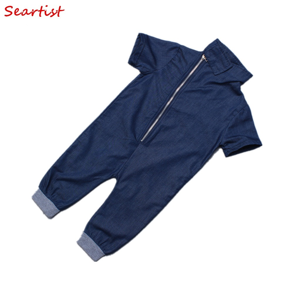 Seartist Baby Boys Summer Rompers Boy Cotton Plain Blue Jumpsuit Newborn Fashion Jeans Pajamas Infant Summer Jumper 2018 New 15