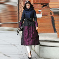 New Winter Collection Women Warm Down Coat Elegant Purple Waist Bow Female Extra Long Slim Jackets Parka Windproof