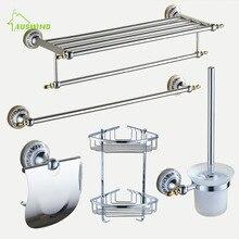 Полированные аксессуары для ванной комнаты, набор хромированных серебряных аксессуаров для ванной комнаты, керамическое основание, Товары для ванной комнаты, настенные