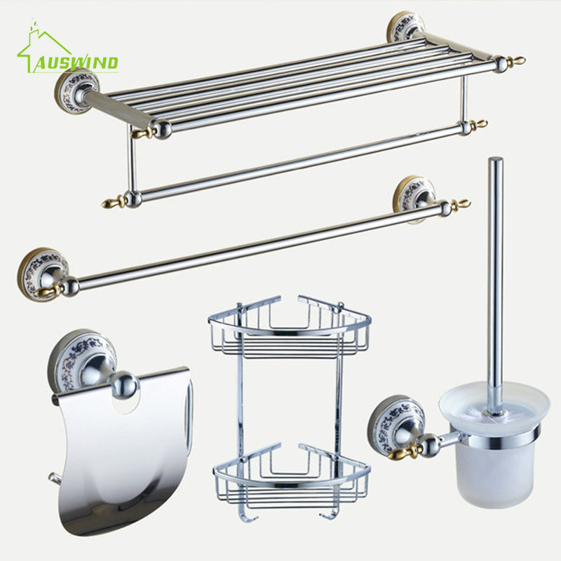 Accessories:  Polished Bathroom Hardware Sets Chrome Silver Bathroom Accessories Set Ceramic Base Bathroom Products Wall Mounted - Martin's & Co