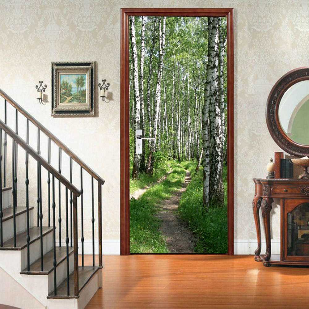 Creative 3D Forest Path Door Sticker DIY Mural Selfadhesive Wallpaper Removable Waterproof Poster Stickers Home Decor Decals