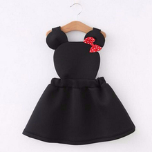 girls clothes Lovely air layer strap girl dress cartoon minnie for kids dresses cotton autumn baby