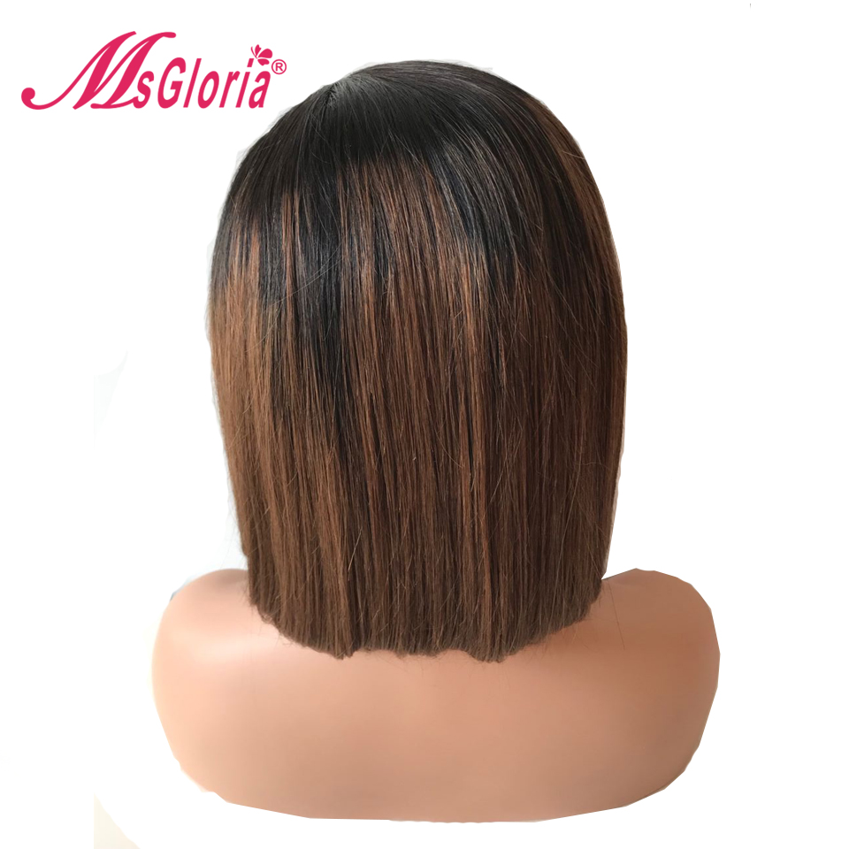 13*4 Lace Short Bob Hair Wigs Ombre 1B #4 Brazilian Remy Lace Front Human Hair Wigs With Baby Hair Bleached Knots 150% Density