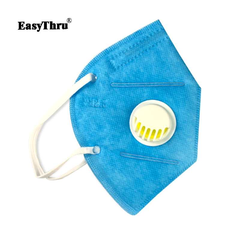 Face Nonwoven Pm2 Mouth 5 lot Anti-dust N95 Folding Blue Easythru Medical Disposable 5pcs Mask Valved Valve With