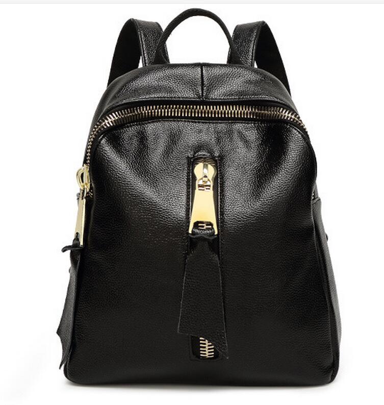 Femmes En Cuir De Vachette Véritable Sac À Dos École sac avec fermeture à glissière poche 2016 nouveau design, En Cuir Véritable Épaule Dame sac