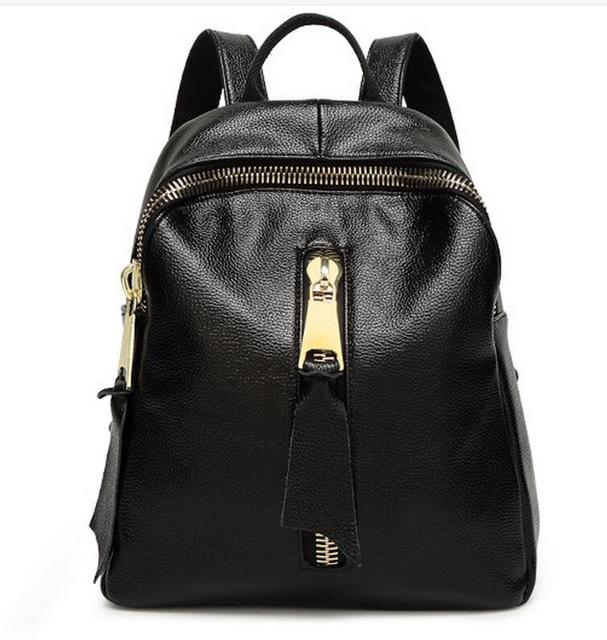 0e43403606 Women s Genuine Cowhide Leather Backpack School Bag with zipper pocket 2016  new design